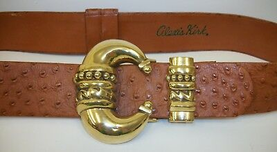 Vintage Alexis Kirk Signed Brown Ostrich Leather Belt w/ Large Gold Tone Buckle