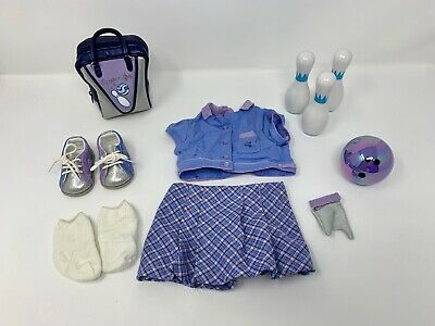 American Girl Doll 2003 Purple Bowling Outfit + Accessories