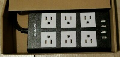 DoubleYI 6 Outlet 4 USB port power strip Black