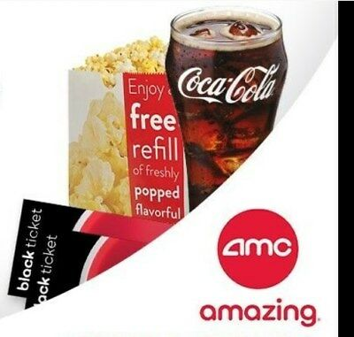 AMC Theatre Coca Cola - 2 Black Movie Ticket - 2 Large Popcorn - 2 Large Drink!