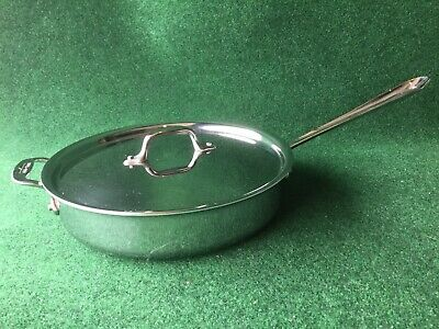 New All-Clad 2014 P14 4403 Stainless Steel Tri-Ply Bonded 3-Qt Saute Pan w/Lid