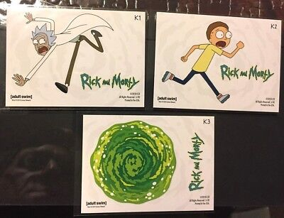 RICK & MORTY 3 card Sticker/Gearhead Set Season 1 2018 Cryptozoic MINT PK Fresh