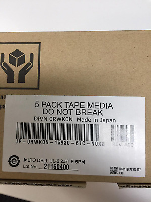 Dell LTO-6 Ultrium (5 Pack) Original Dell Factory Sealed RWK0N