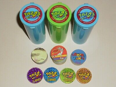 Tazo Collector Storage Tubes with Slammers + Looney Tunes Space Jam Sets