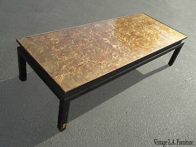 Vintage Oriental Asian Chinoiserie Black & Gold Gilt Cocktail Coffee Table