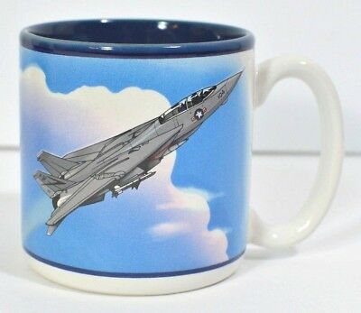 US Navy F-14 Tomcat Fighter Jet Coffee Mug Smithsonian Air Space Museum Cup VTG