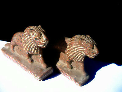 Vintage Egyptian Lion God Hand Carved MAAHES Solid Stone Statue Rosa Kali Sculpt