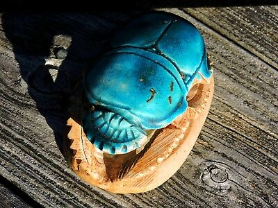 Vintage Egyptian Turquoise Faience Glazed Statue Hand Carved SOLID STONE Scarab