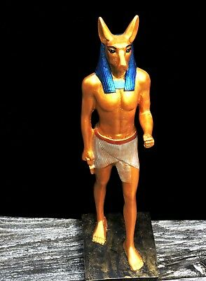 Vintage ANUBIS Egyptian Jackal God Gold Standing Mans Body Handmade Sculpture