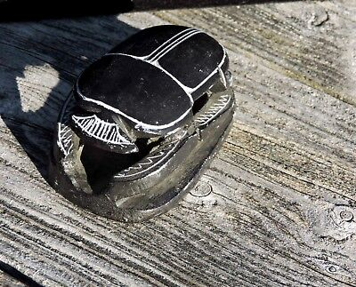 Ancient Egyptian Vintage Statue Hand Carved Solid Granite Scarab Sculpture