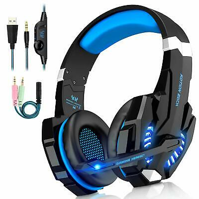 3.5mm Gaming Headset MIC Blue LED Headphone for PC Laptop PS4 Slim Xbox One S/X