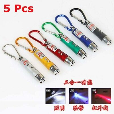 5 x Mini Flashlight UV Multifunction 3in1 Pointer Light Torch LED Keychain Laser
