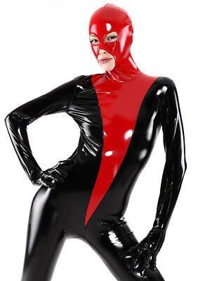 Hot Sale Tights Suit Latex Rubber Gummi Red and Black Catsuit 0.4mm Size S-XXL