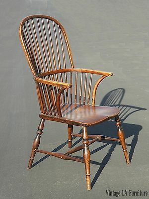 Antique Rustic Early American Sack Back Windsor Accent Chair Farmhouse Chic
