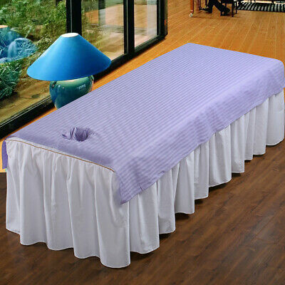 Baoblaze Stripe Beauty Massage Table Cover Salon Spa Couch Cotton Bedsheet