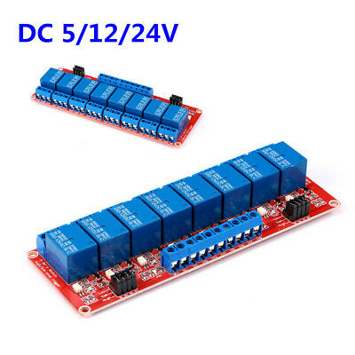 DC 5/12/24V 8 Channel Relay Module with Optocoupler Isolation High/Low Trigger