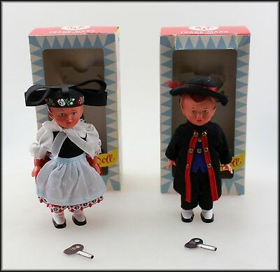 Two Sweetheart Collectible Wind Up Hard Plastic Dancing Dolls