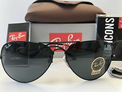 Ray-Ban RB 3025 002/58 Aviator Sunglasses Green Classic G-15 Lenses, Black Frame