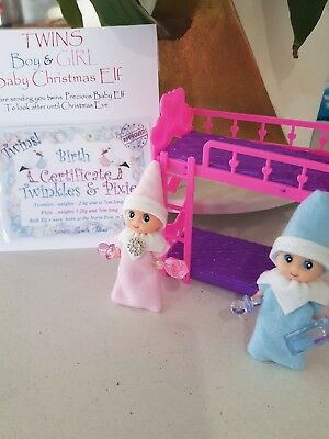 elf - shelf  TWIN BABY DOLLS + BUNK BED & accessories for your baby