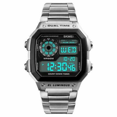 Digital Watch for Men Military Watch Mens Square Watch Sport Watches Dual Time W