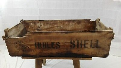 Caisse SHELL bidon d'huile ancienne/coffre bois /collection/old oil can crate