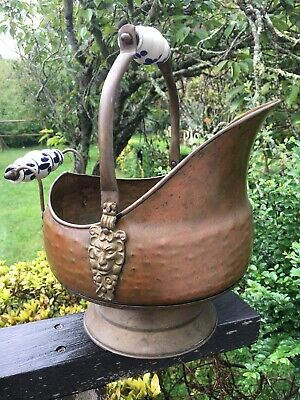 Large Vintage Copper Scuttle Coal Ash Bucket Porcelain Handles Kitchen Fireplace