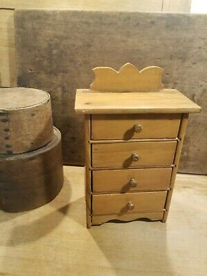 Antique Vintage Old Miniature Wood Doll Dresser Highboy Or Early Spice Drawers