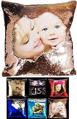 Personalised Sequin Cushion Cover Printed Photo Magic Reveal Mermaid Gift New