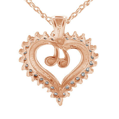 """0.70 Ct Round Cut Diamond 14K Rose Gold Over Heart Shape Pendant With 18"""" Chain"""