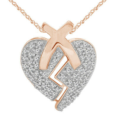 "0.57 Ct Round Cut Heart Break Shape Pendant W/18"" Chain 14K Rose Gold Over"