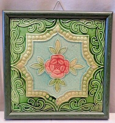 Tile Majolica Japan Vintage Art Nouveau Architecture Geometric Design Flower#426