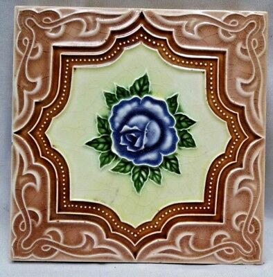 Vintage Tile Majolica Japan M S Tile Works Art Nouveau Porcelain Collectible#255
