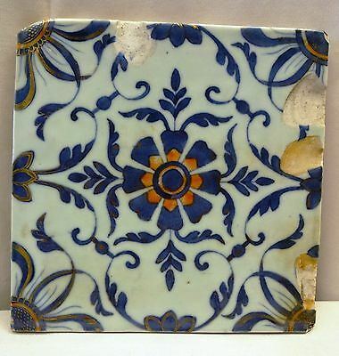 Antique Chinese Tile Blue White Ceramic Vintage Porcelain Flower Design Tile