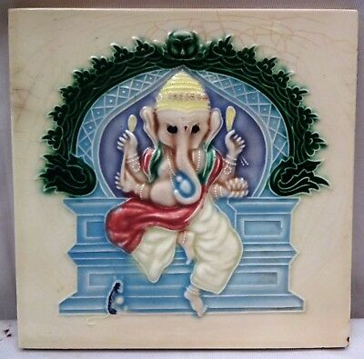 Antique Tile Ceramic Art Nouveau Lord Ganesha Indian God Decorative Item 1940