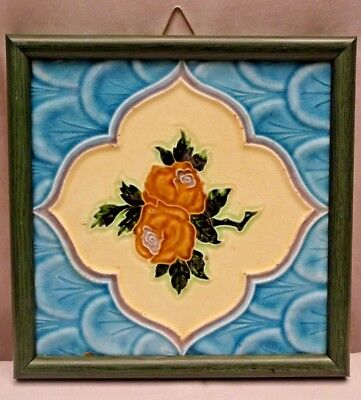 Tile Majolica Japan Vintage Art Nouveau Architecture Geometric Design Rose #425