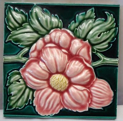Antique Tile High Embossed Rose Flower Design Ary Nouveau Rare Collectibles Old