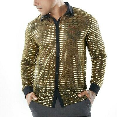 Shiny Sequin Glitter Slim Fit Long Sleeve Men See-through Shirt Nightclub Wear