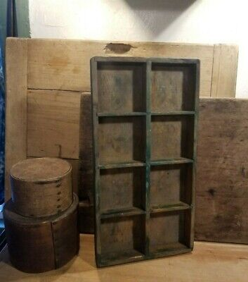 Primitive Antique Wood Box Or Tray Early To Mid 1900's Old Green Paint
