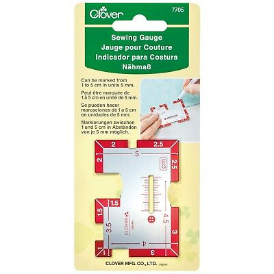 CLOVER SEWING GAUGE - SEAMS,HEMS,BUTTONHOLES,POCKETS -MARKED 1 to 5cm in 5mm
