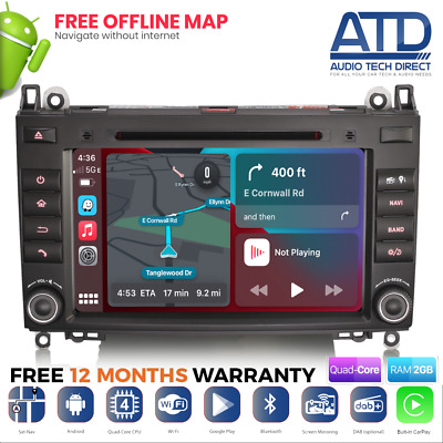 "7"" Bluetooth GPS Sat Nav DAB Radio CD DVD Player Stereo For Mercedes Vito W639"