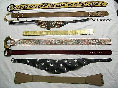Vintage 1960's-70's Lot of 8 Women's Belts Leather, Metal, Cloth, Bling Size 32+