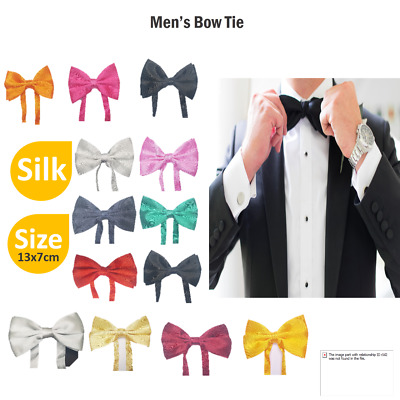 Silk Satin Plain Solid Men's Pretied Bowtie Necktie Tied Wedding Prom Bow Tie