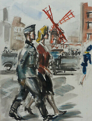 Jose Luis Rey Vila (1900-1983) Soldat Allemand Devant Moulin Rouge Paris Ww2 74
