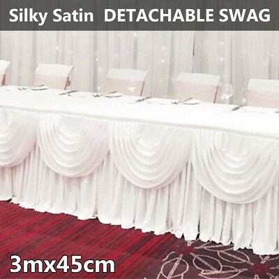 Stage Wedding Backdrop Party Photography Curtain Silky Satin With Swags 3M