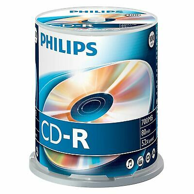 100 x Philips CD-R Blank Recordable Discs 80 Mins 700MB 52x Speed - Spindle Pack