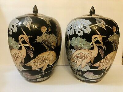 Pair Antique Chinese Porcelain Ginger Vase Qing Dynasty Qianlong Authentic Mark