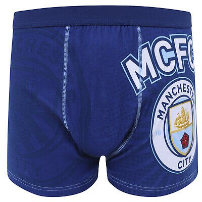 Manchester City FC Official Football Gift Mens Crest Boxer Shorts Navy