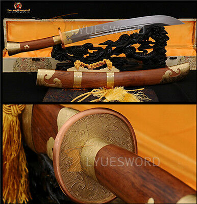 Hand Forged Traditional Chinese Dao Broadsword Damascus Folded Steel Sharp Blade
