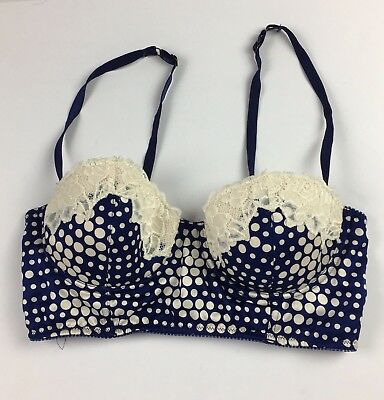 1290ee8802 Anthropologie Eloise Womens Polka Dot Bra Size Blue Ivory Lace Size 34C