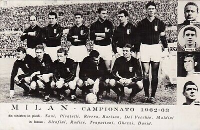 Calcio/Football Cartolina sq. MILAN 1962-'63 con RIVERA originale